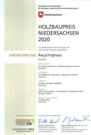 Gundlach Recyclinghaus anerkannt mit dem Holzbaupreis 2020