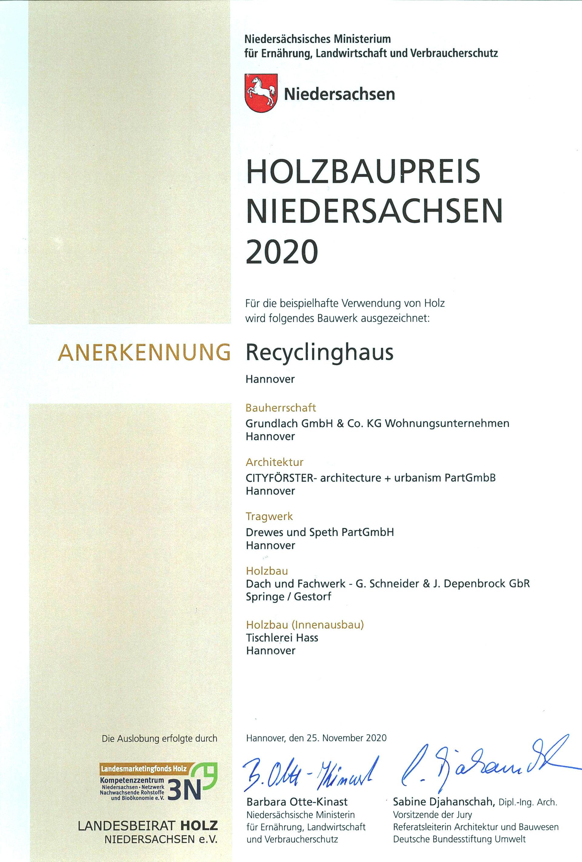 Recyclinghaus_Holzbaupreis Niedersachsen 2020